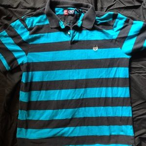 MENS CHAPS BLUE AND BLACK POLO